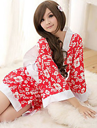 Sexy Woman Plum Blossom Red Satin Kimono Lingerie