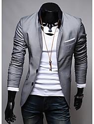 Patch de bolso Projeto Personaliy Solid Color Blazer Exteriores do LEEBIN Homens (Gray)