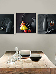 Stretched Canvas Print Art Still Life Potteries Set of 3