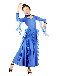 Ballroom Dance Dresses Children's Training Tulle / Viscose Red / Royal Blue Modern Dance / Ballroom Spring, Fall, Winter, SummerLong