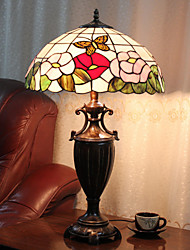Table Lamp, 2 Light, Chic Tiffany Resin Glass Painting