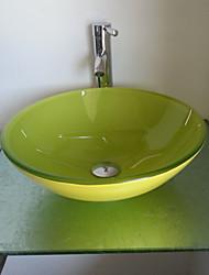 Bathroom Sink Set, Jade Green Tempered Glass Bathroom Sink and Brass Bathroom Faucet