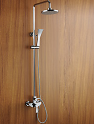 "Contemporary Chrome Finish Wall Mounted Shower Faucet with 8"" Round Showerhead"