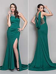 Mermaid / Trumpet Scoop Neck Sweep / Brush Train Jersey Evening Dress with Crystal by TS Couture®