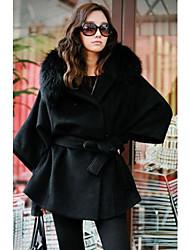 Traumfrauen-elegante Langarm-Ol Tweed-Mantel (schwarz)