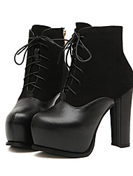 So Kull Women's Lace-Ups Chunky Heel Black Ankle Boots