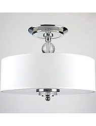 Flush Mount ,  Modern/Contemporary Drum Chrome Feature for Bulb Included Metal Living Room Bedroom Dining Room