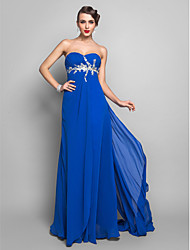 Sheath / Column Sweetheart Floor Length Chiffon Prom Dress with Appliques Side Draping by TS Couture®