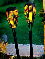 Set of 2 Solar LED Rattan Candle Light Garden Lawn Lamp Stake