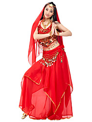 Belly Dance Outfits Women's Performance Chiffon Beading Coins Draped 4 Pieces Natural Top Skirt Headpieces Hip Scarf