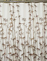 "Shower Curtain Brown Bamboo Print Thick Fabric Water-resistant W78"" x L71"""
