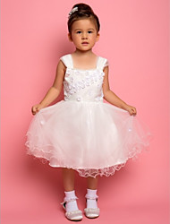 A-line / Ball Gown / Princess Ankle-length Flower Girl Dress - Chiffon / Lace / Satin / Tulle Sleeveless Straps with Beading / Flower(s)