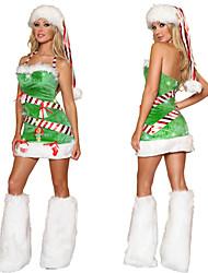 Christmas Costume grama verde de veludo das mulheres