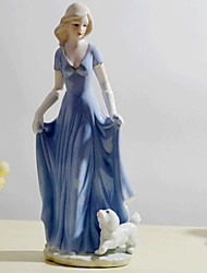 "11""Western Female With Dog Decorations Ceramic Collectibles"