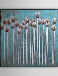 Fleur florale avec Blu terre Peinture à l'huile encadrée