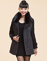 Women's Coats & Jackets , Polyester/Wool Casual XINDIAN