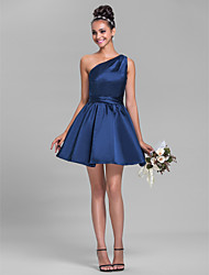 Lanting Bride® Short / Mini Satin Bridesmaid Dress - A-line One Shoulder Plus Size / Petite with Sash / Ribbon / Side Draping