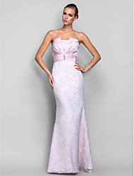 TS Couture Formal Evening Military Ball Dress - Open Back Trumpet / Mermaid Strapless Floor-length Lace Satin withPearl Detailing Side
