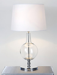 Modern Minimalist Glass Table Lamp Fabric Shade Artistic Glass Body