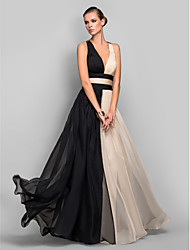 TS Couture Formal Evening Military Ball Dress - Vintage Inspired Beautiful Back Color Block A-line Princess V-neck Floor-length Chiffon