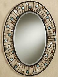 "28 ""Oval Bronze Rhin Stone Design Métal Wall Mirror"