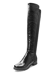 Faux cuir talon stable au cours des bottes au genou avec fermeture éclair