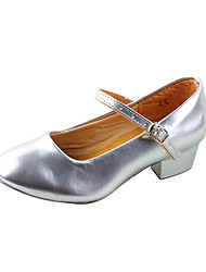 Non Customizable Women's/Kids' Dance Shoes Ballroom/Practice Shoes/Modern Leatherette Chunky Heel Silver