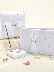 Starlight Wedding Collection Set In White Satin With Scattered Rhinestone (3 Pieces)