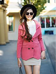Damen Solide Mantel,Winter Langarm Rosa Polyester