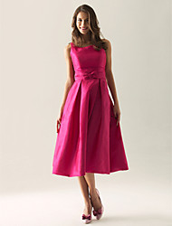 Tea-length Taffeta Bridesmaid Dress A-line / Princess Square / Straps Plus Size / Petite with Bow(s) / Draping
