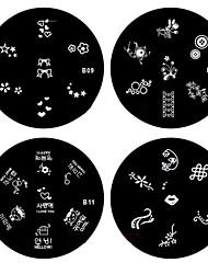 4pcs Nail Art Stamping Timbre Image de tasse Plate Série B (n ° 9-12)