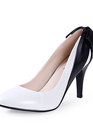 Maykee Small Size Sheepskin Pointed Toe High Heel Shoes(White)