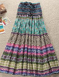 Women's Boho Multi-color Dress , Print Strapless Pleated
