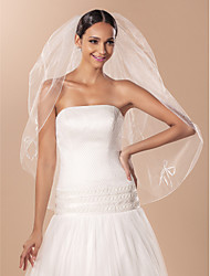 Wedding Veil Two-tier Fingertip Veils Pencil Edge Tulle Ivory A-line, Ball Gown, Princess, Sheath/ Column, Trumpet/ Mermaid