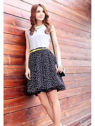 Polka Dot mangas Negro vestido de malla Incluye correa de unifo Mostrar Mujeres