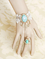 Handmade White Lace and Blue Artificial Gemstone Sweet Lolita Ring Bracelet