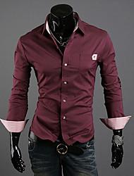VSKA di svago degli uomini Controllare Camicia a maniche lunghe
