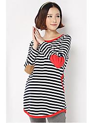 Maternity Stripes Piping T-Shirt
