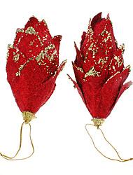 2PCs Red Glitter pommes de pin Décoration de Noël
