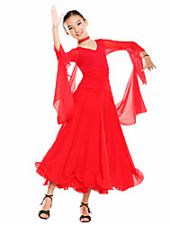 Ballroom Dance Dresses Children's Training Tulle Viscose Long Sleeve