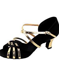 Non Customizable Women's Dance Shoes Latin/Ballroom Satin/Leatherette Chunky Heel Multi-color