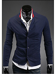 FSNZ Men's Navy Blue Color Contrast Buttons Double Pocket Fit Stand Collar Suit