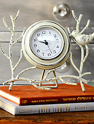 "10""Country Type Bird Style White Metal Analog Tabletop Clock"