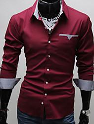 Men's Casual Shirts , Cotton Blend Casual Shangdu