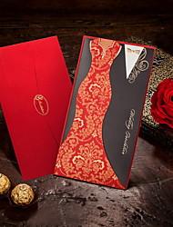 Não personalizado Embrulhado e de Bolso Convites de casamento Cartões de convite-50 Peça/Conjunto Estilo Noiva e Noivo Papel de Cartão8