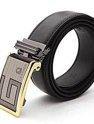 LaoRenTou Fashion Men's Genuine Leather Automatic Belt(Black)