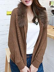Folli Korean Fur Decor Collar Bat Sleeve Knit Hooded Coat