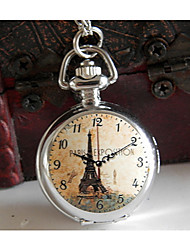 Meizhilan Vintage Eiffel Tower Pattern Pocket Watch