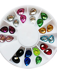 24PCS 12-Color Glitter Water Drop Shaped Rhinestones Nail Art Decorations