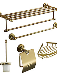 Bath Accessory Set, Antiquités 5 pièces d'or Anodisation aluminium Set Hardware